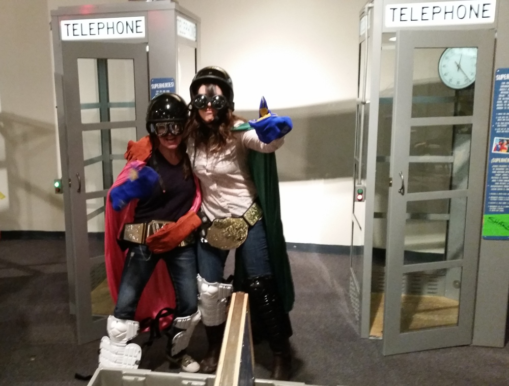 Super Hero Phone Booth at the Mythbusters Exhibit at the Great Lakes Science Center